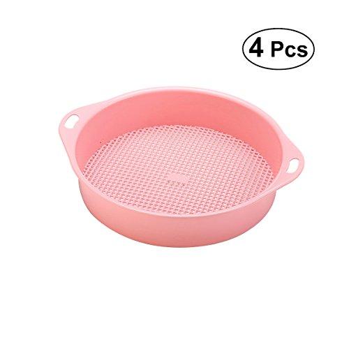 ounona 4Garden Sieb Kunststoff Boden Sieb Garten Hand Werkzeug Rätsel, Boden Mesh (Pink)