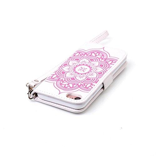 iPhone 7cover case, Ledowp Apple iPhone 7Premium custodia a portafoglio in pelle PU, Full Body campanula modello design custodia magnetica staccabile slot schede PU Flip Cover per iPhone 711,9cm b White Pink