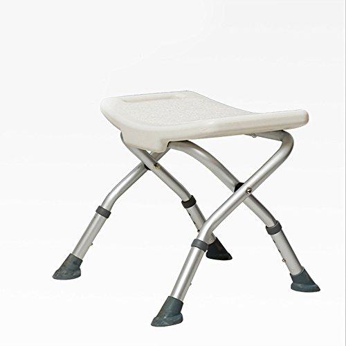 Wanson Hocker Für Schwangere Frauen Badehocker Für Alte Männer Badezimmersitz Aluminium-Handlauf Anti-Rutsch-Stuhl Silber Verstellbare Sitzhöhe 40~44.5Cm