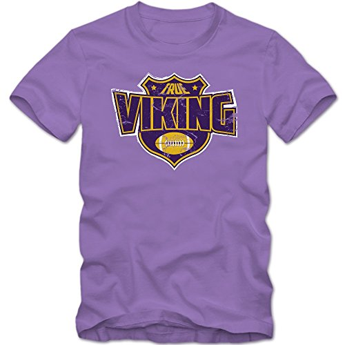 True Viking #8 T-Shirt | Herren | Football | Helm | Super Bowl | Champion | American Sports | Fanshirt | 100% Baumwolle © Shirt Happenz Hell Lila (Light Purple L190)