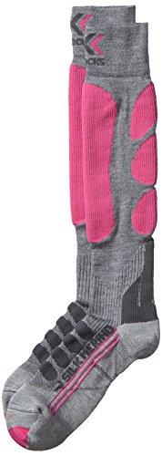 X-Socks Ski Silk Merino Lady Calza Sci, Donna, Grigio (Grey/Fuchsia), 39/40
