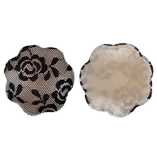 BOZEVON Riutilizzabile Adesivi Copricapezzoli in Silicone - Copri Capezzoli Adesivo Seno di Pizzo per Donna, Circolare & Floreale, Nero 2