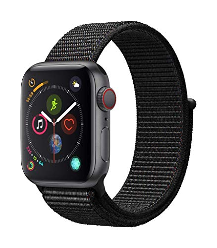 Del-serie (Apple Watch Series 4 GPS + Cellular, 40mm Aluminiumgehäuse, Space Grau, mit Sport Loop, Schwarz)