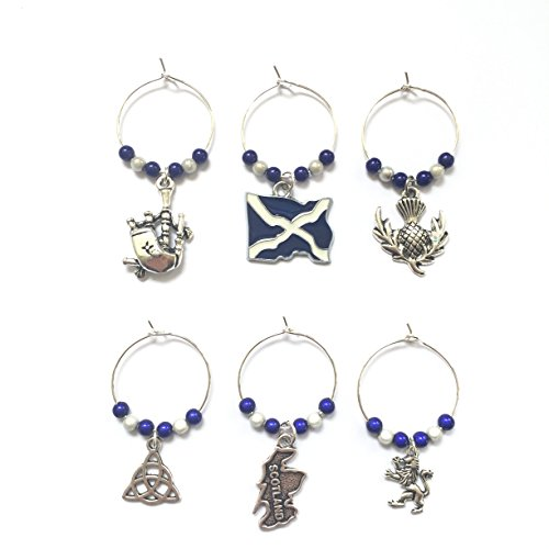 Scottish / Scotland Wine Glass Charms with Velvet Gift Bag Handmade by Libby's Market Place by...