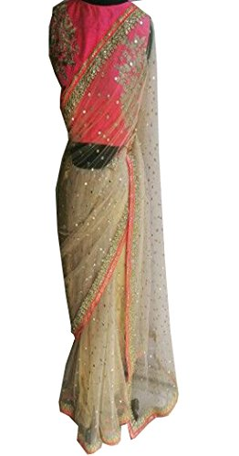 Bollywood Craze Net Saree With Blouse Piece (Cream_Free Size)