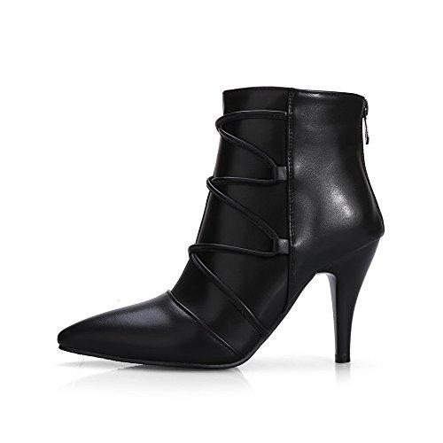 Damen Stiletto Reißverschluss Niedrig-Spitze Blend-Materialien Stiefel, Weinrot, 38 VogueZone009