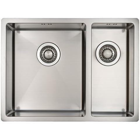 Fregadero de cocina de acero inoxidable /MIZZO Linea 34-18 integrado / Base - 1.5 senos cuadrado / 590x 444