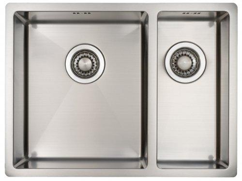 Lavello da Cucina Acciaio Inossidabile Mizzo Design 34 18 Lavandino Incasso Filotop o Sottotop Base 60 Spessore 1.2 Una Vasca e Mezza Acciaio Inox