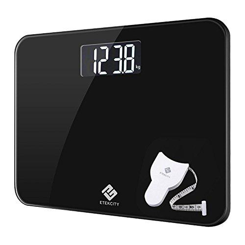 Etekcity Bilancia Pesapersone Digitale 200kg/400lb, Ampio LCD Display, Tecnologia Step-on, Tasto Touch di Unità, Incluso Metro a Nastro, Elegante Nera