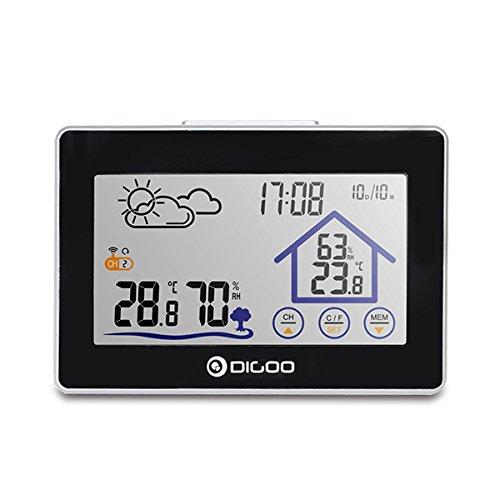 DIGOO DG-TH8380 Wireless-Berührungsempfindlicher Bildschirm Wetterstation Thermometer Outdoor-Vorhersage Hintergrundbeleuchtete Uhr Anzeige der multifunktionalen Weiche Augenpflege Weißes Rücklicht