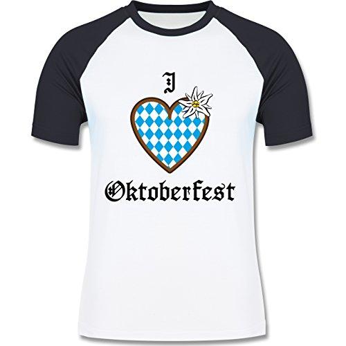 Oktoberfest Herren - Oktoberfest Love Edelweiß - zweifarbiges Baseballshirt für Männer Weiß/Navy Blau