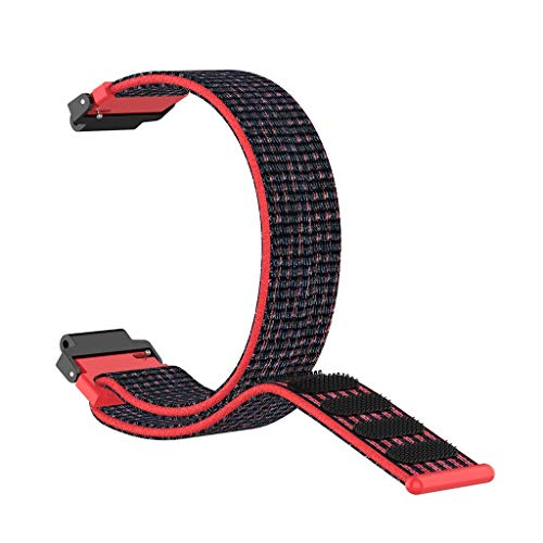 TianranRT★ Universelles Uhrenarmband - Nylon Sport Loop Armband Für Garmin Forerunner 220 230 235 630 620 735, Nylonschlaufe, Rot
