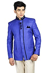 Wintage Mens Rayon Bandhgala Festive Nehru Mandarin Blazer- Blue
