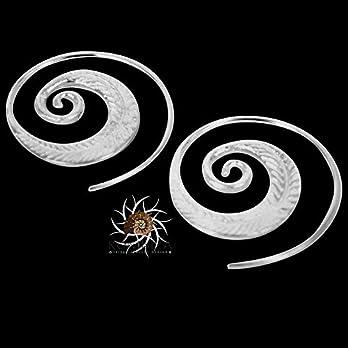 Silberne Ohrringe – Silberne spiralförmige Ohrringe – Zigeuner Ohrringe – Stammes-Ohrringe – ethnische Ohrringe…
