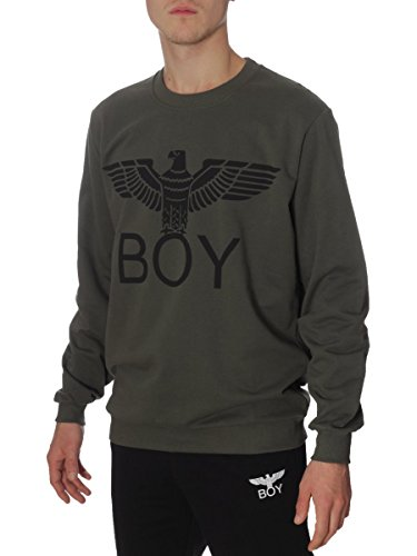 Felpa Boy London Cotone Garzato BL587 Made in Italy MainApps Verde Militare