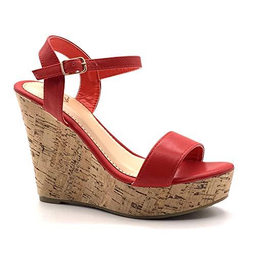 Angkorly - Damen Schuhe Sandalen Pumpe - High Heels - Folk/Ethnisch - Böhmen - String Tanga - Basic - Kork Keilabsatz high Heel 12 cm - Rot 660-10 T 39 -