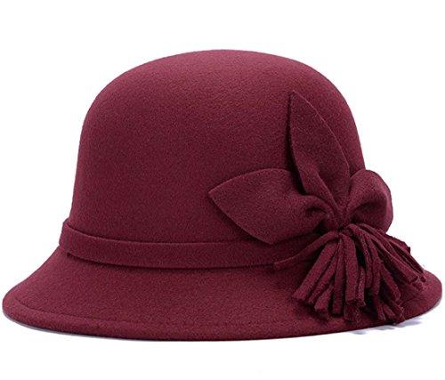 THENICE élégant chapeau chapeau melon en feutre pour femme Vino Rosso