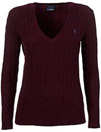 Pull col V Ralph Lauren Kimberly en laine rouge bordeaux pour femme 9d5fb607fb3c