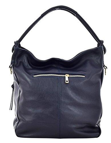 LENA Borsa a Spalla Mano Shopper Vera Pelle Donna Moda Made in Italy Blu scuro