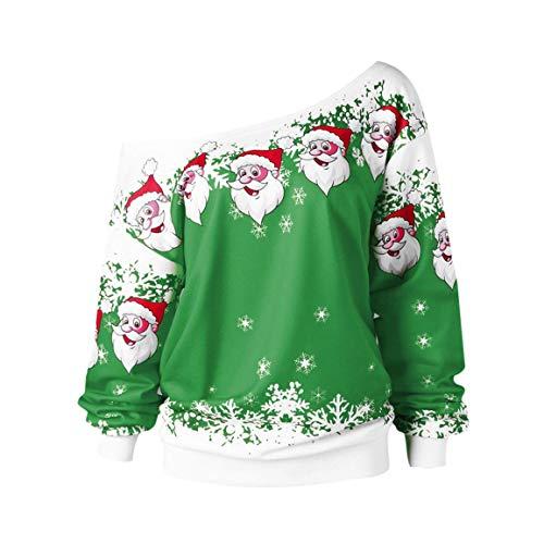 Moonuy Frauen Langarm Pullover Damen Full Sleeved Sweatshirt Mode Frohe Weihnachten Weihnachtsmann Print Skew Kragen Bluse
