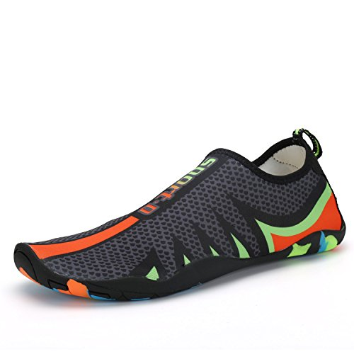 NEOKER Zapato de Agua descalzo, Zapatos de Playa Acuático Calcetines Para Hombre Mujer Nadada Yoga Resaca natación Calzado Negro 45