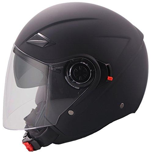 Jethelm Helm Motorradhelm Rollerhelm mit Sonnenvisier RALLOX 702 matt schwarz Größe XL