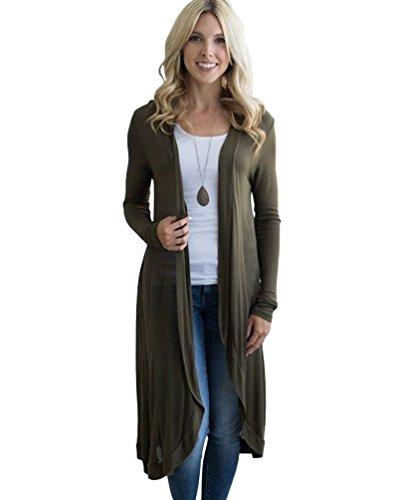 Sentao Donna Maglione Cardigan Lunghi Casual Manica Lunga Trench Coat Maglia Cappotto Giacca Top Autunno Inverno Esercito verde