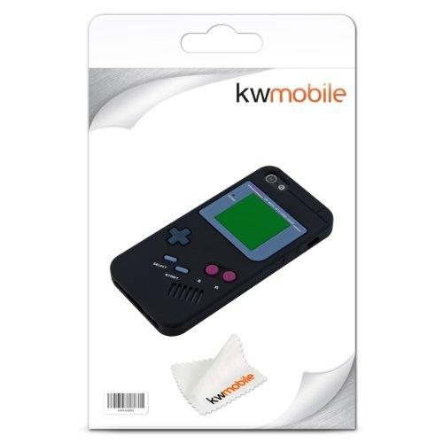 kwmobile Hülle für Apple iPhone SE / 5 / 5S - TPU Silikon Backcover Case Handy Schutzhülle - Cover klar Panda Design Schwarz Weiß Gameboy Schwarz