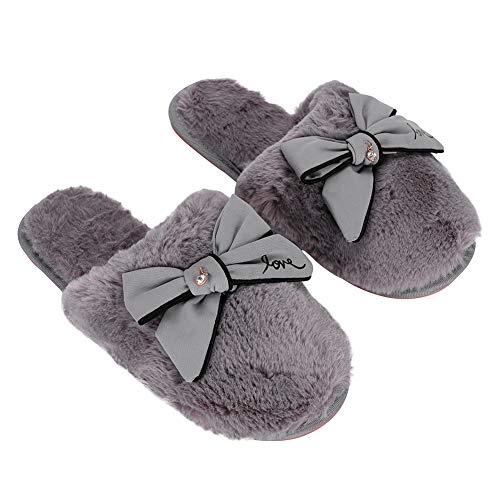 Zapatillas Interior Cálido Pantuflas Casa Cámara escritorio sandalia zapato abierto de peluche invierno otoño antideslizante Mules Slippers confortable Boots cortos suave para mujeres damas chicas