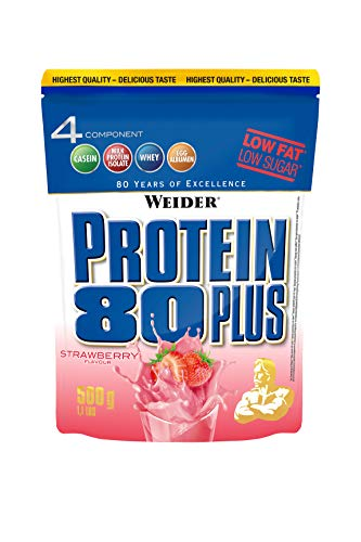 WEIDER Protein 80 Plus Eiweißpulver, Erdbeer (Low-Carb, Mehrkomponenten Casein Whey Mix für Proteinshakes, 500g)