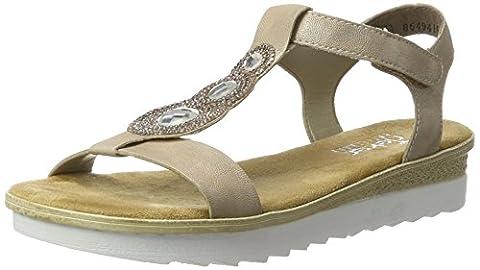 Rieker Damen 63184 Offene Sandalen mit Keilabsatz, Beige (Nude / 62), 37 EU