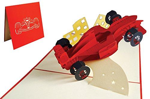 Lin 17560, Pop up Karten Auto, 3D Grußkarten Auto, Auto Grußkarte, Geburtstagskarten, Gutschein Auto, Sportwagen, Rennwagen, N313