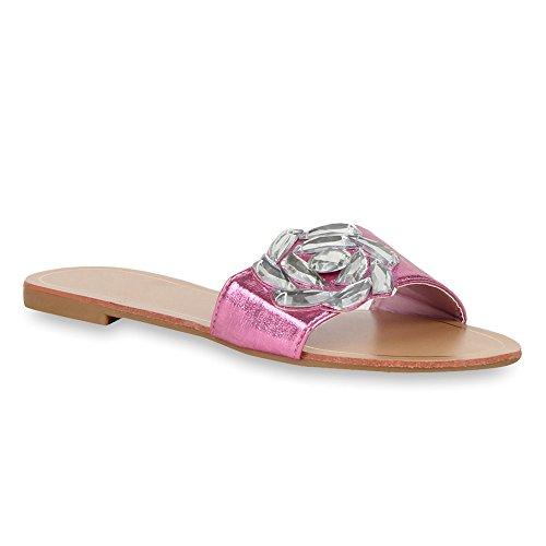 Damen Pantoletten Blumen Sandalen Strass Sommer Schuhe Pink Blume