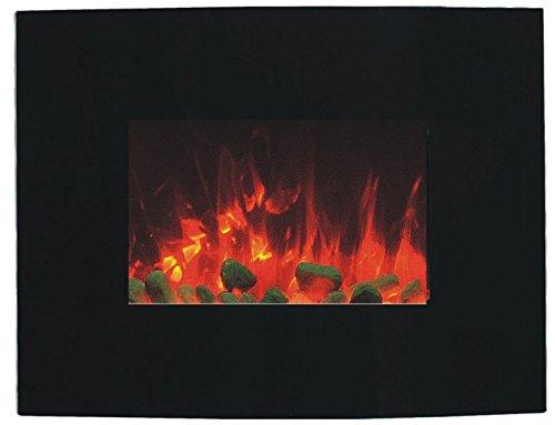 Cheminée électrique Glow Fire Merkur Curved, cheminée murale électrique 1500W Chauffage soufflant, coloré, lumière LED–Vitre en verre, variateur, télécommande (Noir), noir, 230.00 voltsV