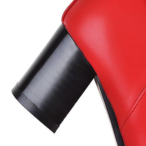 AllhqFashion Damen Rein Mittler Absatz Reißverschluss Rund Zehe Stiefel mit Schnalle Rot