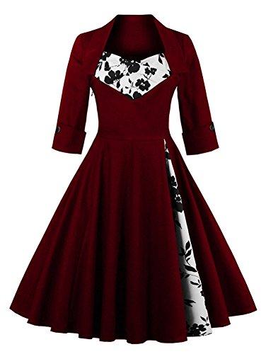 Eudolah Robe courte Vintage patineuse de soirée avec manches style années 50 Femme Bordeaux Fleur