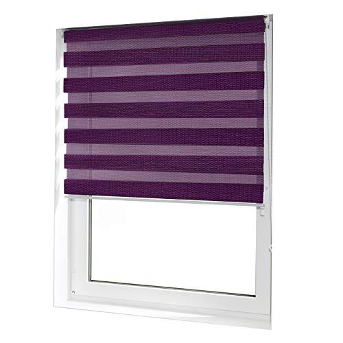 casa pura® Doppelrollo Day & Night mit Doppelfunktion - tageslichtdurchlässig und verdunkelnd - in 8 Größen | Violett | 45x150cm