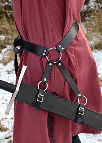 Schwertgürtelhalter aus schwarzem Leder – Schwerthalter Gürtelhalter Mittelalter Schwert - 2