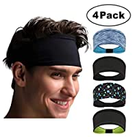 Gluckluz Sports Headband Yoga Hair Band Sweatbands for Men Women Breathable Mesh Soft Absorb Sweat for Fitness Running Jogging Basketball Dancing Cycling (4 Packs)