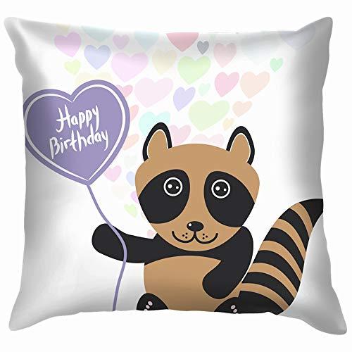 Home Fashion Pillowcase Happy Birthday Card Cute Kawaii Raccoon Miscellaneous Anniversary Miscellaneous 18x18 IN