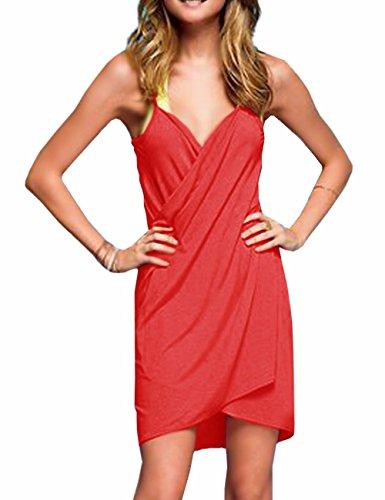 EMMA Damen Sexy V-Ausschnitt Spaghetti Träger Rückenfrei Blumen Muster Strandtuch Wrap Wickelnkleid Sarong Plus Size Top Bikini Cover Up Strandkleider Rot