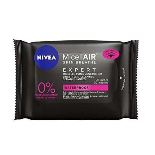 Nivea Micell AIR Skin Breathe Expert Mizellen Reinigungstücher Gesicht-Augen, Für Wasserfestes Make Up, 1er Pack (1 x 20 Tücher)