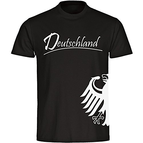 T-Shirt Deutschland Trikot Adler seitlich Herren schwarz Gr. S - 5XL - Fanshirt Fanartikel Fanshop Fußball WM EM Germany,Größe:L