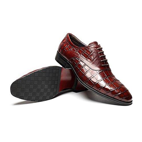 WZG Die neuen Männer beiläufige Schuhe erste Schicht aus Leder Herren Lederschuhe atmungsaktiv spitze Schuhe Hochzeit Schuhe wine red