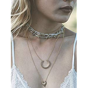 XUHAHAXL Halskette/Retro-Stil Straße, Chao Fan Metall Carving Halbmond Halskette Doppelte Halskette