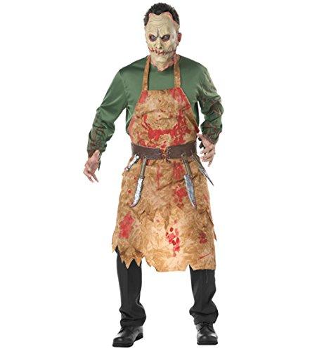 Blutige Metzger Kostüm - HAOBAO Halloween-Männer blutiger Metzger-Kostüm Cosplay Zombie-Anzug mit Schürze, m