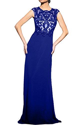 Milano Bride 2017 Neu Schwarz Chiffon Abendkleider Partykleider Promkleider mit Spitze Brautmutterkleider Royal Blau