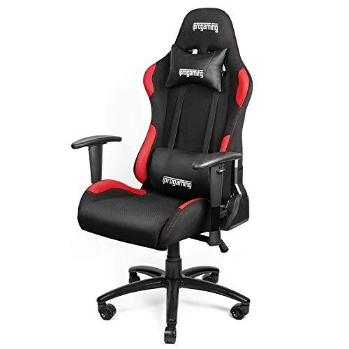 iProgaming | Gaming Stuhl | Liegefunktion | Bezug aus Stoff in Schwarz-Rot | Belastbarkeit bis zu 200 kg | Wippfunktion | Racer Style | als Computerstuhl und Bürostuhl geeignet