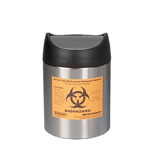 neoLab 6-2150 Tisch-Abfallbehälter Biohazard, 19 cm hoch, 12,7 cm oberer Durchmesser
