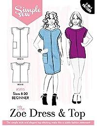 40cf2c13faa4 Cartamodello da donna semplice da cucire per abito Zoe e top per  principianti